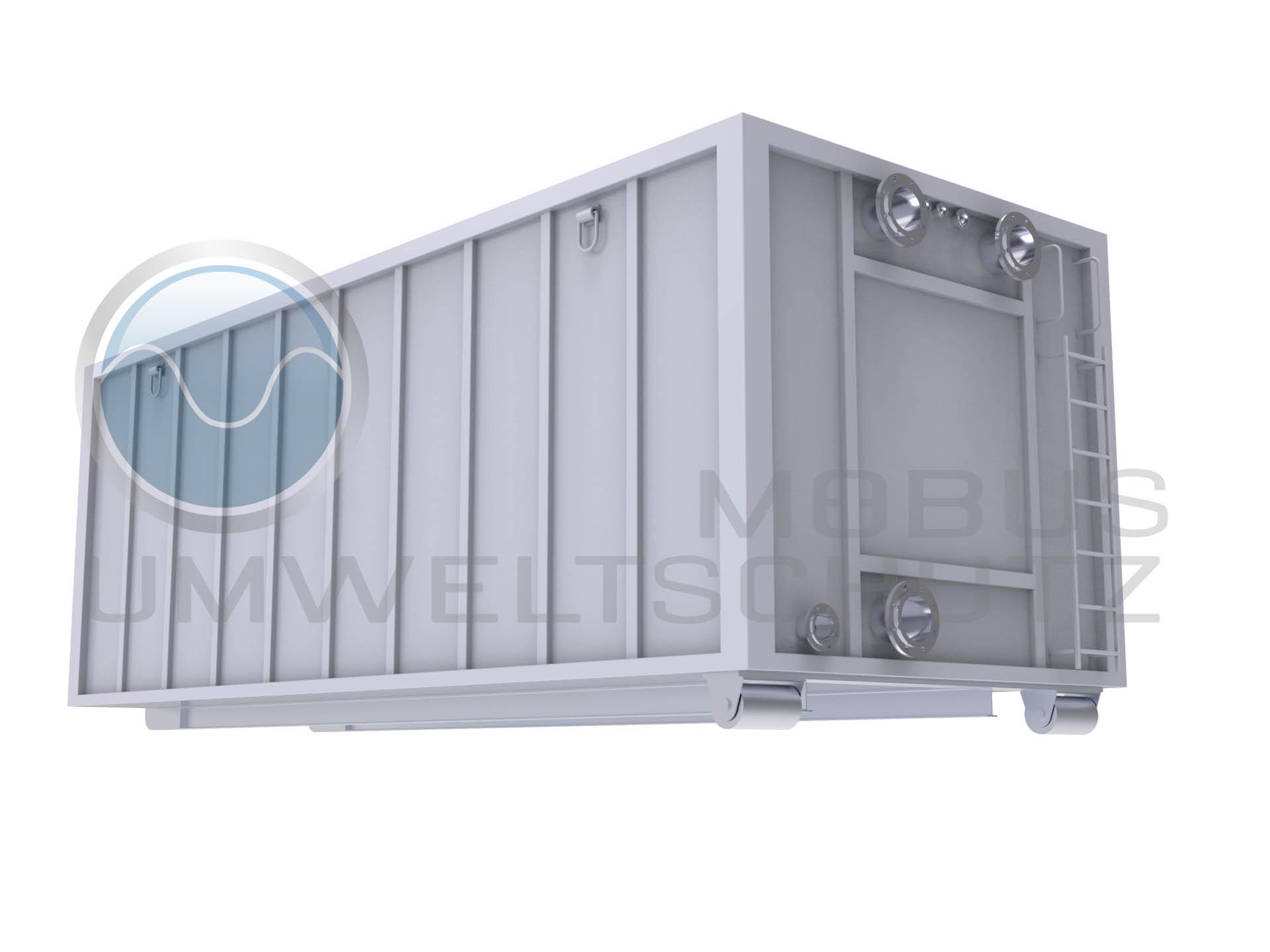 Absetzbecken als Abrollcontainer nach DIN 30722
