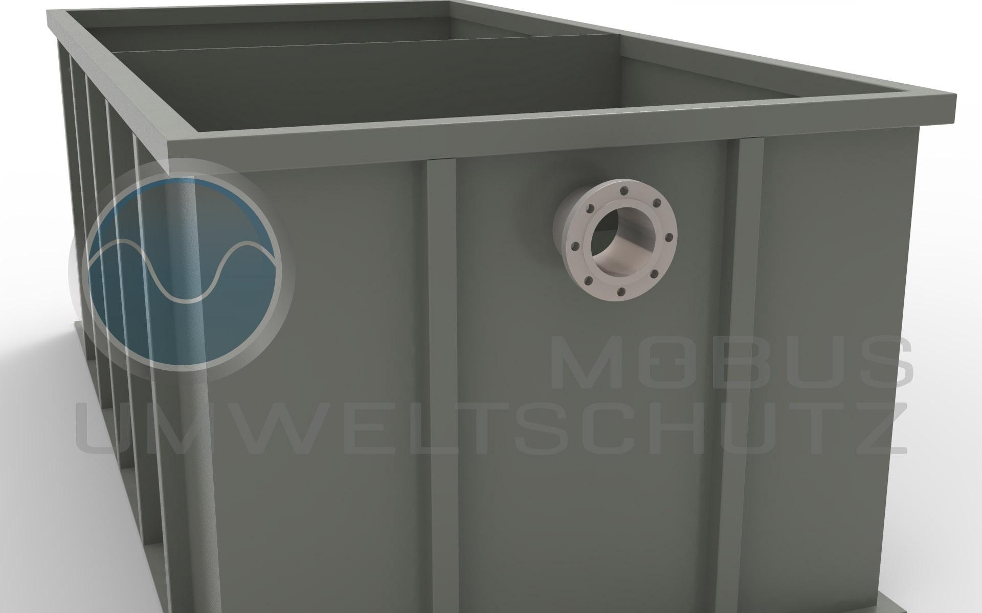 Absetzbecken mit Prallwand und Flansch DN150