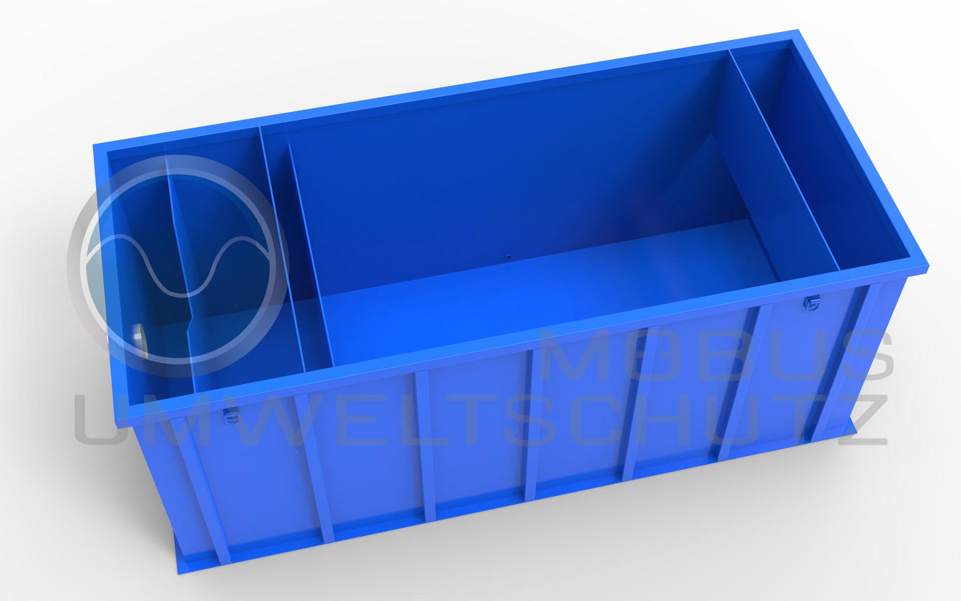 Neutralisationsbecken oder Sedimentationsbecken 4.500T mit Thomsonwehr zur Bestimmung der Duchflussmenge