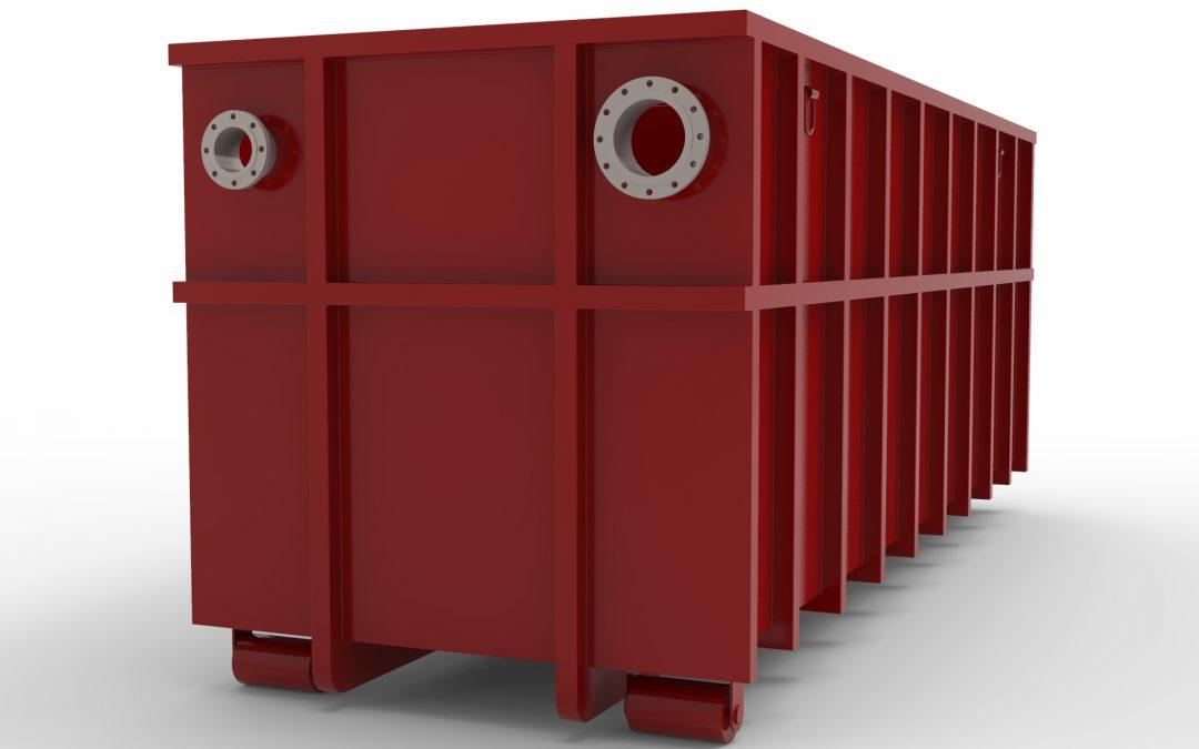 Absetzbecken 28cbm als Abrollcontainer nach DIN 30722